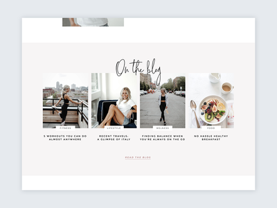 Homepage Blog Section feminine design nutrition fitness web design script lifestyle blog blog minimal ui homepage