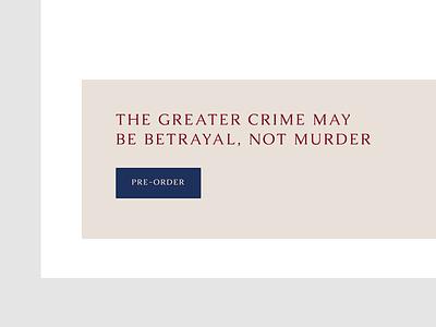Author Website Exploration genre crime sleuth whodunnit layout typography author pre-order web design button design website button