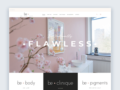Be Clinique Website homepage clinic cosmetic lifestyle brush font blush wordpress wellness beauty feminine web  design website typography