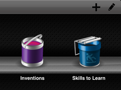 Inventions and Skills to Learn icons shelves ipad