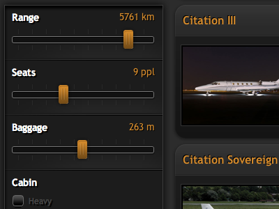 Jet Finder sliders modules search