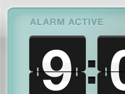 Alarm Active flip clock light blue ui