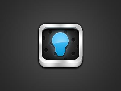 Idea Bucket 2.0 app icon lightbulb gloss steel