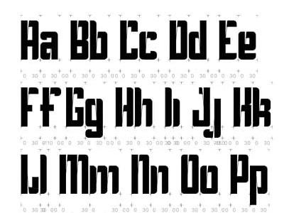 ZwartBlok / BlackBlock pilot parallel pen typeface design illustrator glyphs blockletter blackletter
