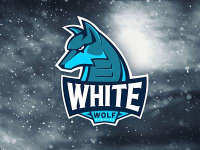 white wolf esports illustration sports gaming esports aggressive animal branding logotype logo mascot wolf
