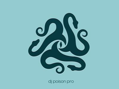 dj poison pro logo logotype snake eye music
