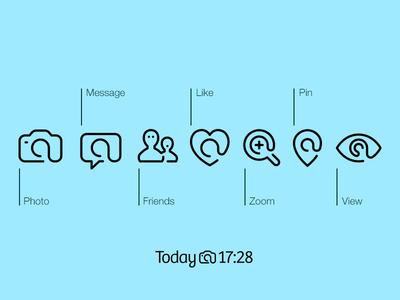 MemNow App Icons ios icon line camera pin eye message like heart ui