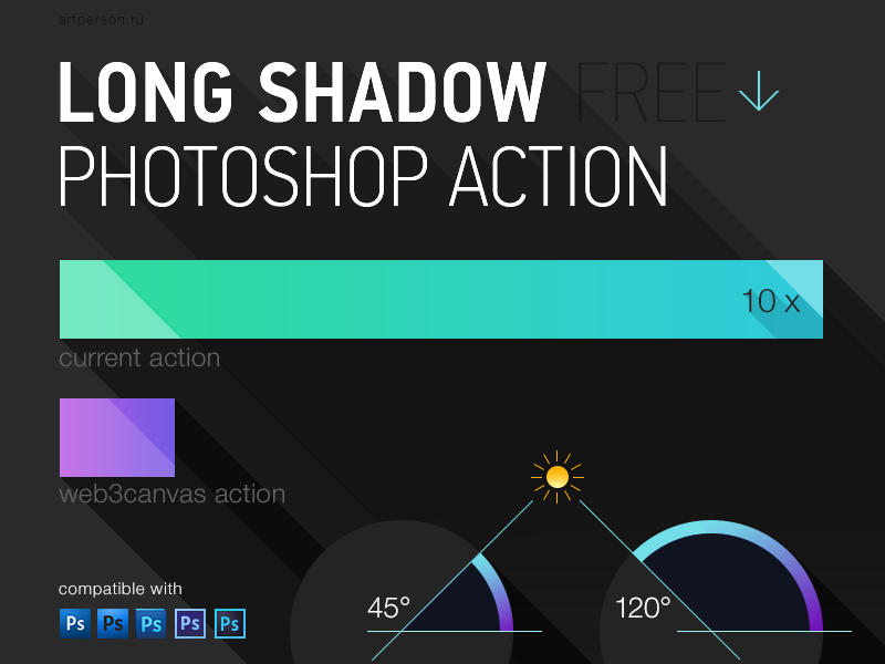 Free Long Shadow Photoshop Action shadow ios ui icon flat long shadow photoshop action