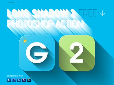 Long Shadow 2 Photoshop Action ios ui icon flat shadow long shadow photoshop action