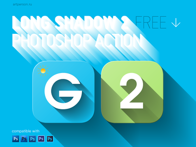 Long Shadow 2 Photoshop Action ios ui icon flat shadow long shadow photoshop action