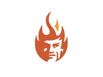 Fyr flame logo devil fire icon illustration vector logo design branding