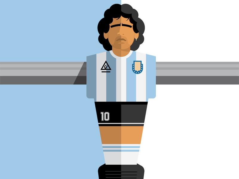 Maradona football soccer argentina foosball maradona vector illustration design