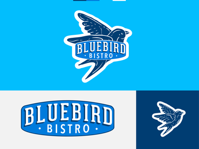 Bluebird Bistro Logo Identity rustic vintage sparrow wip rebrand bird badge restaurant bistro colorado mountain bluebird mountains logo mark illustration branding vector illustrator logo