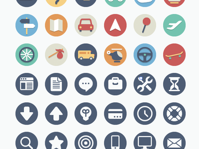 Free Circle Icons: Transportation Add-on icons freebie free flat illustration transportation traffic travel circle icon set