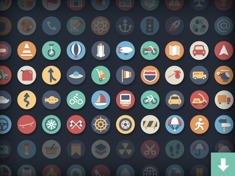 Circle icons transportation