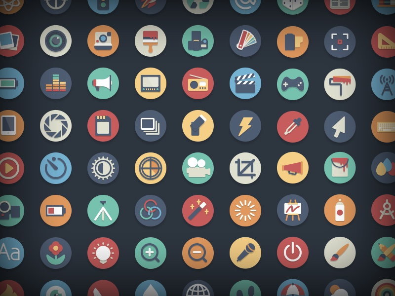 Free Circle Icons: Media Add-on illustration freebie icons free icon set circle flat media design photography