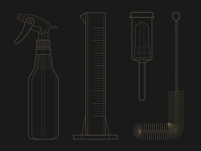 Brewing Illustrations illustration beer brewing line stroke beaker spray bottle filter brush scrubber