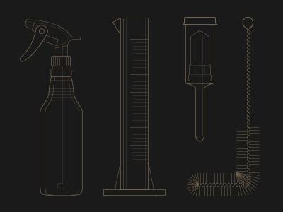 Brewing Illustrations illustration beer brewing line stroke beaker spray bottle filter brush scrubber