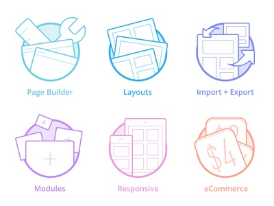 Page Builder Icons icons line illustration layout import export modules responsive ecommerce circle