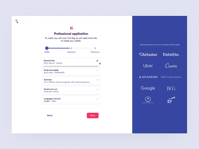 Giggable Product · Professional Side giggable side project uiux ui on boarding product design gig economy onboarding material icons material ui materialdesign sidebar