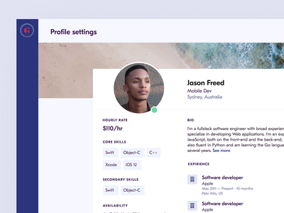 Giggable Product · Professional Side Profile product giggable product design uiux ui material design profile page