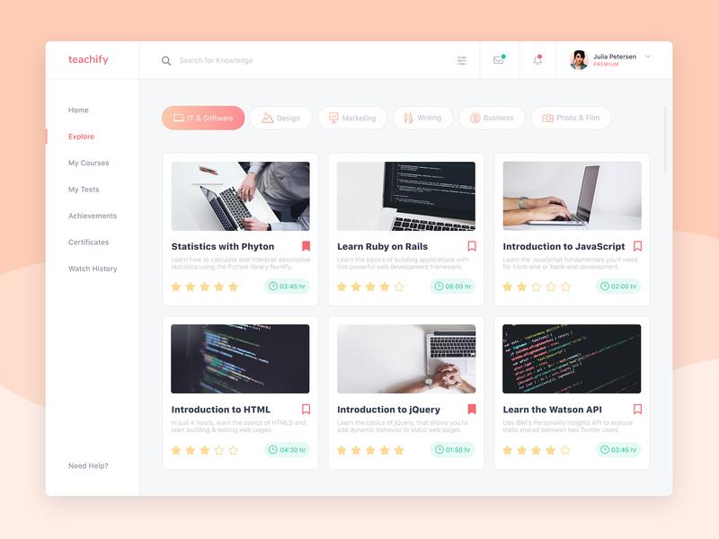 E-Learning Desktop App by Anastasia Solina on Dribbble