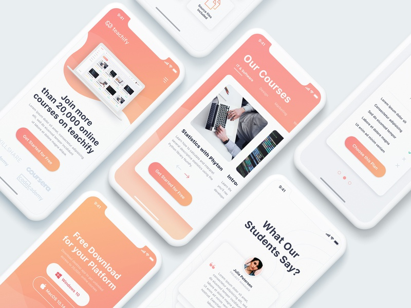E-Learning Platform Landing Page (Mobile Version) by