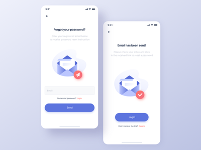 Forgot password screens send forgot password email reset password illustration ui app design
