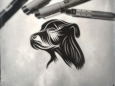 Meet Wessy - logo design wessy dog logo design brand mark animal drawing process sketch собочьей морды staffordshire bull terrier linocut woodcut style