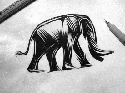 Shuttermuse - Logo Sketch logo shuttermuse photography elephant brand mark animal wood cut style lino cut style