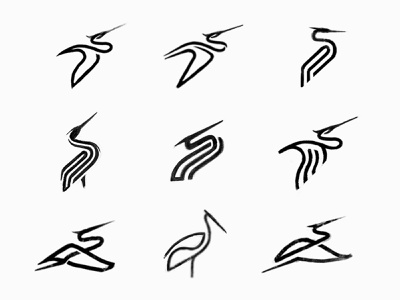 Monoline Stork Sketches custom logo design process sketch monoline stork bird animal symbol designer branding identity identity designer mark brandmark logo designer logo design logo