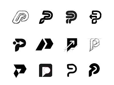 P sketches process custom logo design typography symbol designer branding identity identity designer brandmark mark logo designer logo design logo