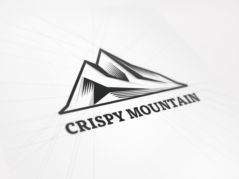 New Logo Design for Crispy Mountain crispy mountain logo beeldmerk mark brand identity symbol icon mountain polygons