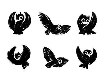 Rough owl sketches custom logo design negative space process sketches owl animal icon designer symbol designer branding identity identity designer brandmark mark logo designer logo design logo