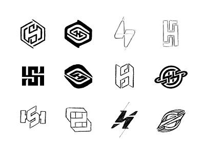 SH Monogram sketches process sketches monogram custom logo design logotype typography branding identity identity designer brandmark mark logo designer logo design logo