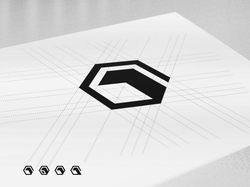 One Pixel - Brand Mark 3D Cube Logo Construction 1px 1 pixel one logo 3d cube geometry brand mark hexagon vertex brandmark