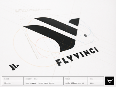 Flyvinci - Logo / Brand Mark Design brand designer brand identity designer brand identity design logo designer custom logo design brand mark process bird fly davinci curves logo design monogram golden ratio