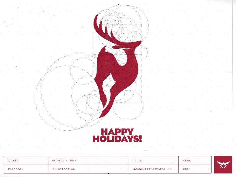 Happy Holidays - Logo Design reindeer holidays christmas newyear illustration cresk logo logo designer stag deer antelope springbok