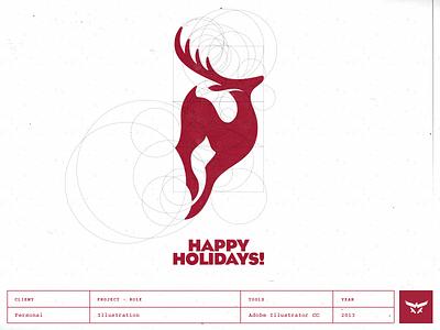 Happy Holidays - Logo Design brand identity design brand mark custom logo design reindeer holidays christmas newyear illustration cresk logo logo designer stag deer antelope springbok