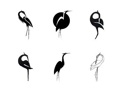 Heron - sketches WIP process sketches heron animal custom logo design symbol designer branding identity identity designer brandmark mark logo designer logo design logo