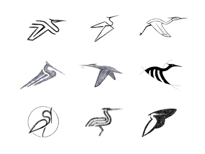 Heron (2) process sketches sketch heron animal custom logo design symbol designer branding identity identity designer brandmark mark logo designer logo design logo