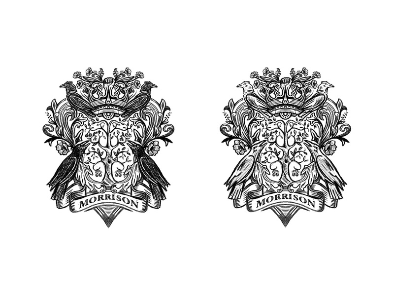 WIP cherry tree poppy raven badge coat of arms process sketches design custom logo design branding identity identity designer brandmark mark logo designer logo design logo