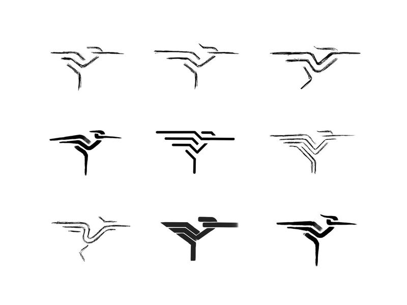 Heron 4 process sketches heron animal custom logo design symbol designer branding identity identity designer brandmark mark logo designer logo design logo
