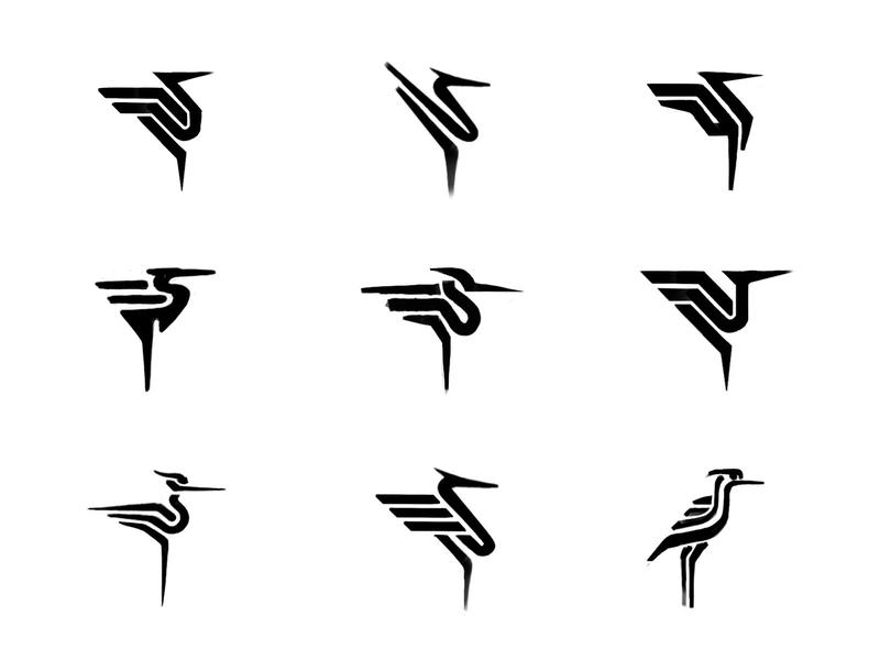 Heron sketches (5) process sketches heron animal custom logo design symbol designer branding identity identity designer brandmark mark logo designer logo design logo