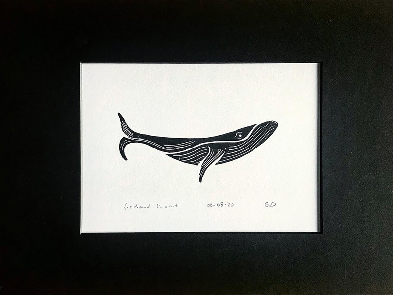 Whaley Linocut process sketch drawing art inked linocut whale animal custom logo design symbol designer identity branding identity designer mark brandmark logo designer logo design logo
