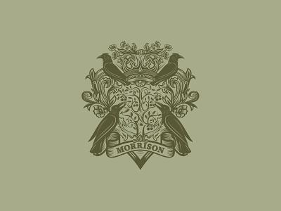 Coat of Arms detailed logo vintage poppies flowers raven shield coat of arms custom logo design symbol designer branding identity identity designer mark brandmark logo designer logo design logo