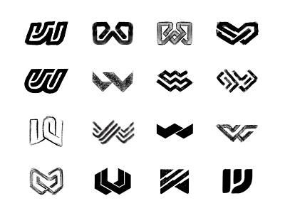 W sketches letter monogram design process sketches monogram custom logo design symbol designer branding identity identity designer mark brandmark logo designer logo design logo