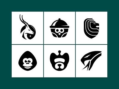 6 animal head logo's snake monkey dog lion owl deer brandidentity custom logo design animal symbol designer branding identity mark brandmark logo designer logo design logo