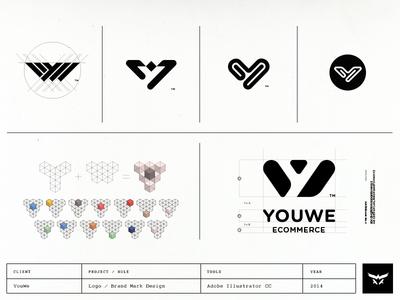 Youwe's logo conceptional process in a nutshell brand identity design ux designer ui designer logo designer monogram design custom logo design logo design brand mark symbols monograms yw