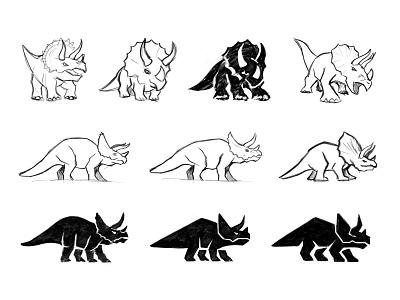 Triceratops sketches symbol process sketch triceratops dinosaur dino animal custom logo design branding identity identity designer mark brandmark logo designer logo design logo